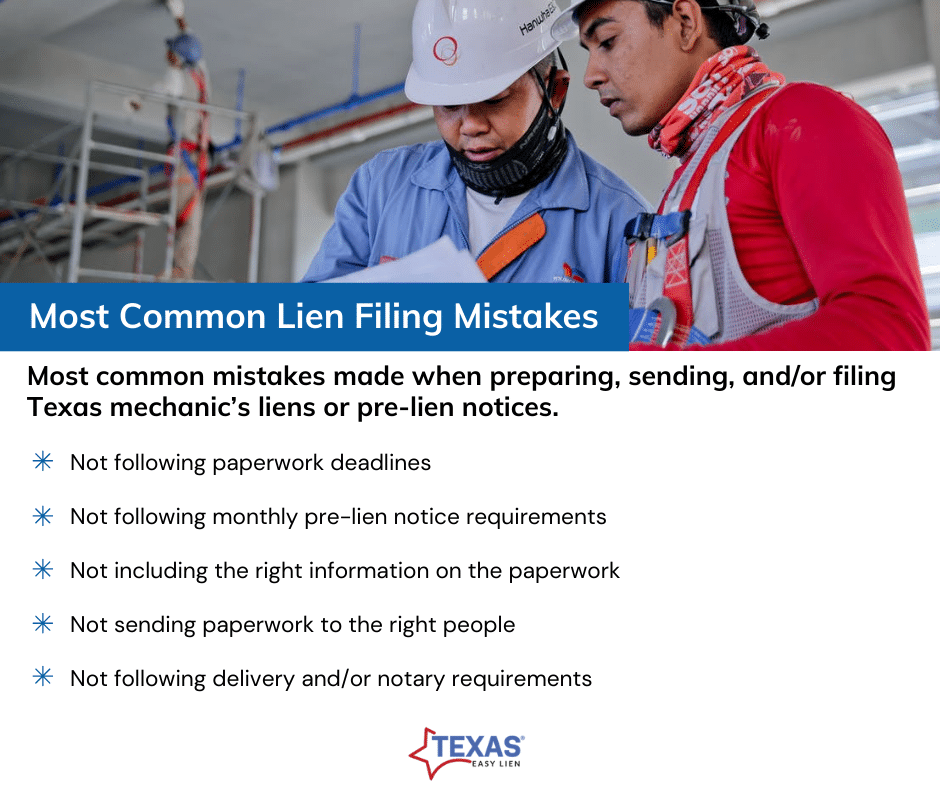 Most common lien filing mistakes